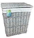 Grand panier à linge en osier gris (80 litres). Boîtes à linge rectangulaires. Doublure en coton amovible. Disponible en 2 tailles