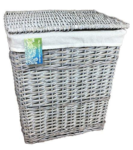 Portabiancheria grande in vimini grigio (80 litri). scatole di lino rettangolari. fodera in cotone removibile. disponibile in 2 dimensioni