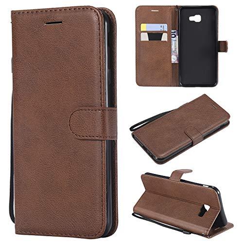 Artfeel Flip Brieftasche Hülle für Samsung Galaxy J4 Plus/J4 Prime, PU Leder Handyhülle mit Kartenhalter,Retro Bookstyle Stand Abdeckung mit Magnetverschluss Handschlaufe Schutzhülle-Braun -