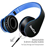 BestGot-Headphones-Over-Ear-Kids-Headphones-with-Microphone-Volume-Control-Lightweight-Noise-Isolating-Headsets-with-Detachable-35mm-Cable-for-Apple-Android-Smartphone-Tablets-Laptop-BlackBlue