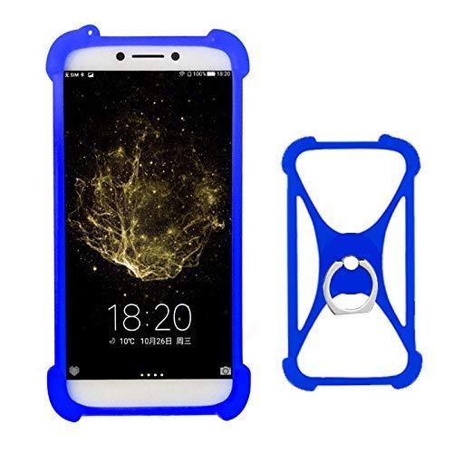 Lankashi Blau Silikon Schutz Tasche Hülle Case Ring Halter Ständ Cover Etui Handyhülle Handytasche Für Allview Soul X5 Mini X4 Lite BLU View XL G3 G4 J8M R2 LTE Max One X3 Dash XL L5 L4 Universal