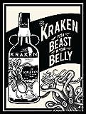 Decorazione per parete/placca Kraken Rum (versione inglese), retrò in metallo, idea regalo per bar, pub e stanza degli hobby
