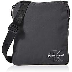 Calvin Klein - Monogram Nylon Micro Flatpack, Organizadores de bolso Hombre, Negro (Grey Pinstripe), 1x1x1 cm (W x H L)