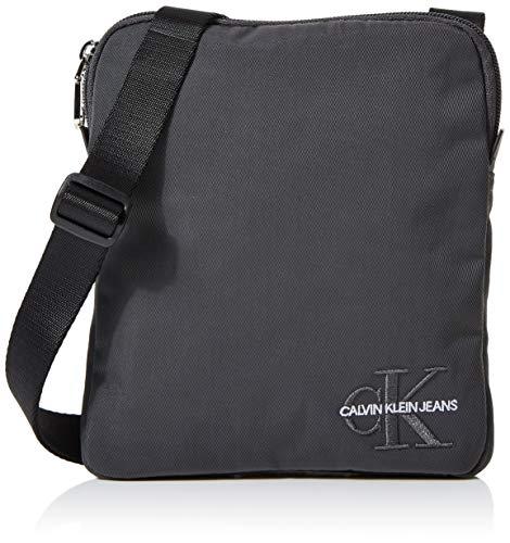 Tasche Monogram (Calvin Klein Herren Monogram Nylon Micro Flatpack Taschenorganizer, Schwarz (Grey Pinstripe), 2x21x18 cm)