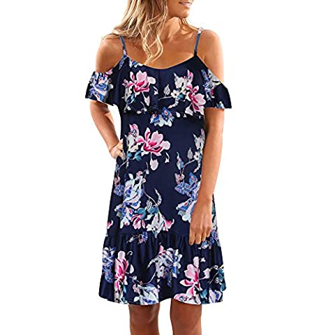 Womens Summer Off Shoulder Floral Dress Fami Party Beach Short Mini Robe (M)
