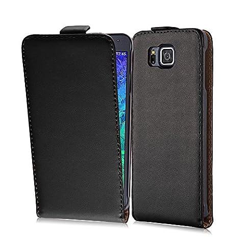 Cadorabo - Flip Style Hülle für Samsung Galaxy ALPHA (G850F) - Case Cover Schutzhülle Etui Tasche in KAVIAR-SCHWARZ
