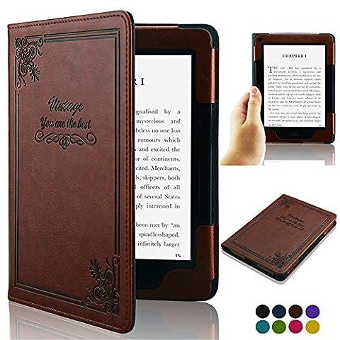 Accover Étui ultra fin en cuir pour Amazon Kindle avec