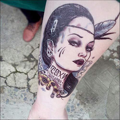 m Tattoo Aufkleber Wasserdicht Weiblich Langlebig Arm Simulation Tattoo Grün Indische Frau Brust Tattoo Aufkleber Männlich Abdeckung Narbe ()