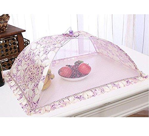 Wgwioo Hotte De Cuisine De Table Parapluie Couvrir Poussière Dentelle Alimentaire Protecteur Art Rétro Impression Rectangulaire Pop-Up Mesh Écran Réutilisables Et Pliable 3