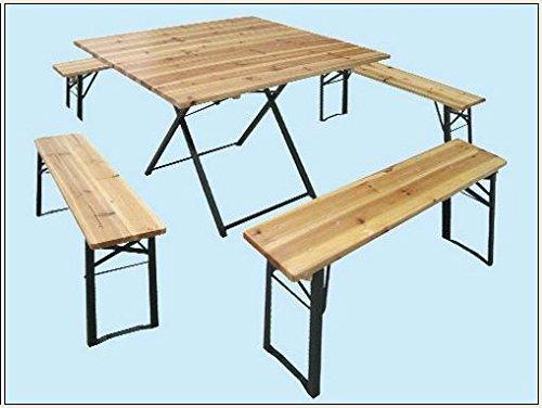 set birreria tavolo quadro 110x110+4 panche 110x25