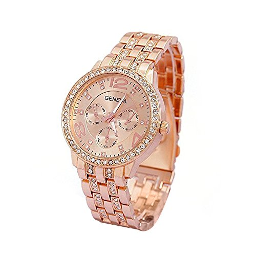 Forepin orologi da polso da donna ginevra analogico cristallo di quarzo cristalli strass lega orologi in acciaio inox