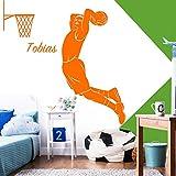 Grandora Wandtattoo Basketballspieler + Wunschname I türkis (BxH) 44 x 80 cm I Basketball Kinderzimmer Jungs Sticker Aufkleber Wandaufkleber Wandsticker W5515