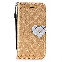 For iPhone 6 Plus/iPhone 6S Plus Wallet Case [Free Tempered Glass Screen Protector],Mo-Beauty® Lovely Heart Shaped Design Elegant Vintage Luxury PU Leather Magnet Flip Case Cover With Credit Card Slots [With Hand Wrist Strap] for Apple iPhone 6 Plus/iPho