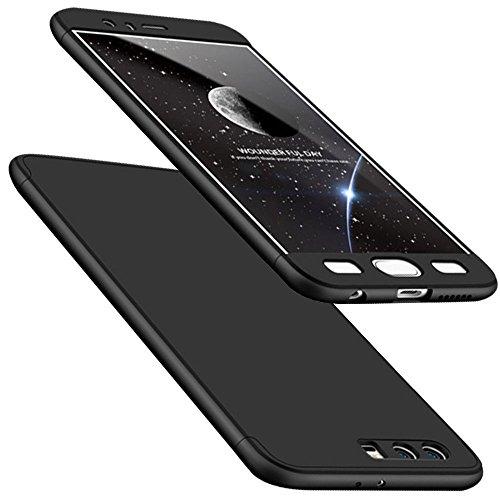 e, WindCase Abdeckung Tasche Anti Fingerabdruck Stoßfest Anti-rutsch 3 in1 Harte PC Schutzhülle für Huawei Honor 9 Schwarz + Panzerglas Schutzfolie (Bling-bling-felgen)