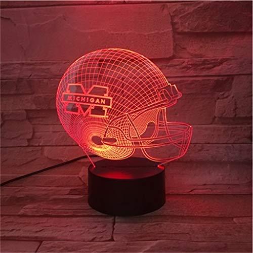 YLSE-night light Michigan Wolverines 3D Nachtlicht/Led Energiesparlampe, 7 Dekorative Lichter Mit Farbwechsel - Schwarzer Sockel, Kinder -