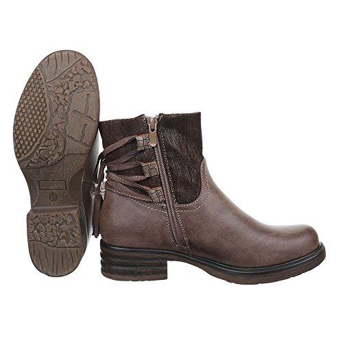 Damen Schuhe Leicht Gefütterte Schlupfstiefel Reißverschluss Komfort Stiefeletten Stiefeletten Blockabsatz Braun Grau