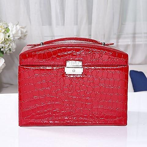 Admitir joyas princesa cartucho de madera real continental, pelusa con gran capacidad multi-tier cajón , color rojo.