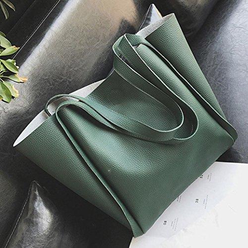 Longra Donna Due sacchetti un sacchetto di spalla di colore solido del cuoio dell'unità di elaborazione Verde