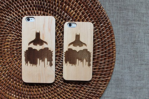 �r iPhone (Handgefertigt, mit Batman-Logo, umweltfreundliches Holz, DC Comics-Design), iPhone X, Maple ()