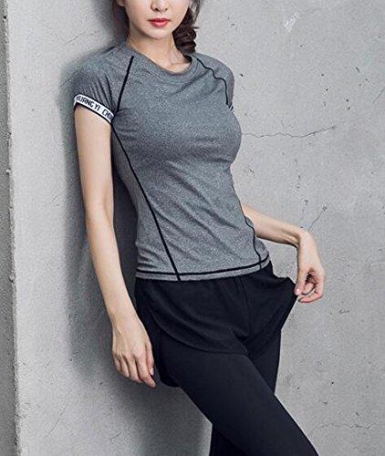 Beatayang Vêtements de sport - vêtements de yoga-T-shirt + Sweatpants pour Femme Gris