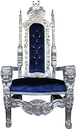 Casa-Padrino Sillón de Trono Barroco Plata/Azul con Silla de Diamantes de imitación Bling Royal -...