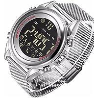 HBWJSH Reloj electrónico Inteligente Reloj Deportivo Android Reloj Inteligente iOS Bluetooth (Color : Blanco)