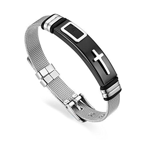 Cupimatch uomini croce in acciaio inox bracciale, l' onore del cavaliere maglia braccialetto catena 21cm regolabile e acciaio inossidabile, colore: silver, cod. cu-mi-101-uk