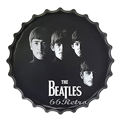 66Retro The Beatles, Round Beer Bottle Cap, Embossed Metal Tin Sign, Wall Decorative Sign, Dia 40cm