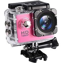 Mugast Caméra Sport DV, 7Couleurs Mini Caméscope Etanche Portable de Haute Définition Résistant à l'eau Jusqu'à 30Mètres Support Carte Mémoire 32G (Rouge Clair)