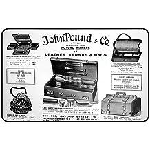 cadora Targa magnetica calamita Frigo Vintage Retro pubblicità John Pound Borse in pelle e valigia Giornale di annunci