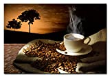 Berger Designs Bild auf Leinwand als Kunstdruck in Verschiedenen Größen. Modernes Küchenbild Kaffee. Beste Qualität aus Deutschland (60 x 40 cm (BxH))