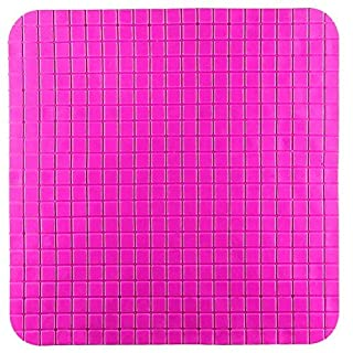 YHLCSQ Square Mat for Shower Non Slip Bath Mat Anti-Bacterial Machine Washable PVC Suction Bath Mat 20 by 20 inch with Suction Cups (Hotpink)