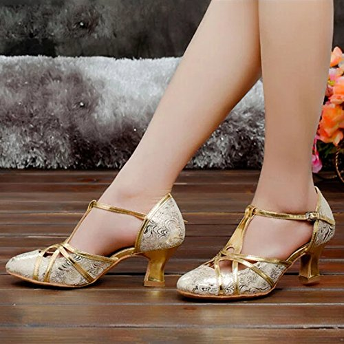 Azbro Women Shimmer Hollow Out Latin Dance High Heel Sandals Shoes Silver