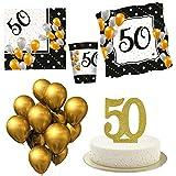 Kit Festa 50 Anni Compleanno con Candelina per Torta | Addobbi Tavola Festa 50 | Palloncini Piatti Bicchieri Tovaglioli e Candela Anniversario di Matrimonio | Decorazioni ed Idee