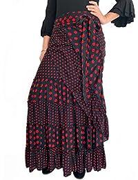 5819ecc9e2 Falda Media Luna Color Negro de Lunares Rojos para Baile