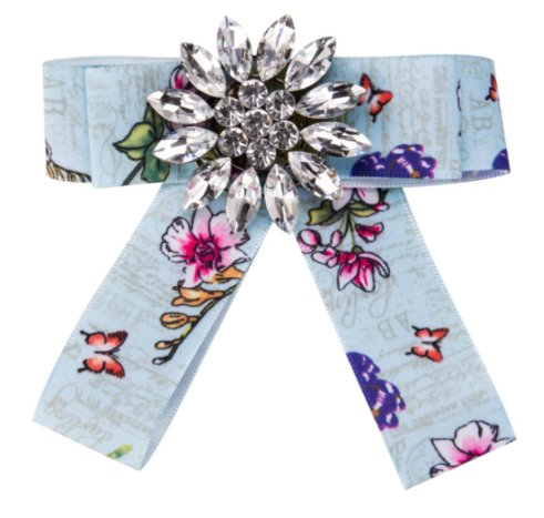 Kiss Me! Topmodell Samt Schleifen Mit Strass Brosche Verschiedene Farben Bluse Blazer Jeans (Hellblau mit Muster)