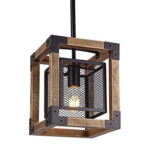 """YDYG 8,8\""""industrielle Vintage Kronleuchter breite quadratische Holz Metall Mini Anhänger rustikale Dinning Küche Lampe hängende Deckenleuchte"""