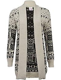 (womens multiple owl drape knitted cardigan)(me) frauen Eule gestrickt Strickjacke (36/38 (uk 8/10), (stone) stein)