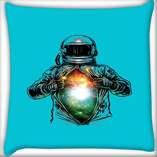 Snoogg Galaxy Inside The Astronaut Blue 12 x 12 Inch Throw Pillow Case Sham Pattern Zipper Pillowslip Pillowcase For Drawing Room sofa Couch Chair Back Seat  available at amazon for Rs.145