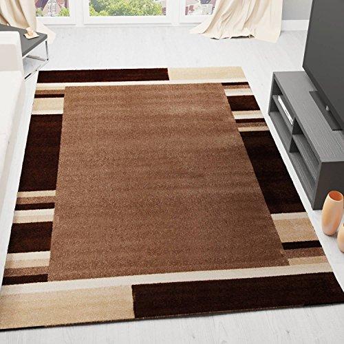 VIMODA Designer Teppich Wohnzimmer Modern Bordüre Muster Gestreift Beige Braun Pflegeleicht 80x150 cm