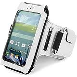 Tuff-Luv Uni-SE x taille unique Brassard de sport/ Sportsband étui amovible réglable pour Smartphones (iPhone 5s / SE Y compris / 5c / 6 Samsung Galaxy S3 S4 S5 / HTC One M7 M8 / Nexus 4 5 / Nokia Lumia) - blanc