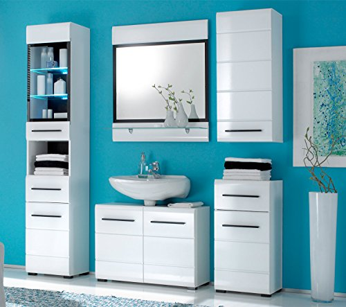 Waschbeckenunterschrank Waschtischunterschrank FLEMMING 1 | Schwarz | Weiß Hochglanz | 2 Türen - 2