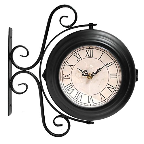 Orologio con montaggio a parete, con due facce, per esterni o interni, stile stazione