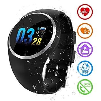 ZEERKEER SmartWatch, Reloj de Pulsera Frecuencia cardíaca/Presión Arterial/Monitoreo de oxígeno en la Sangre Resistente al Agua IP67 Facebook/Twitter ...
