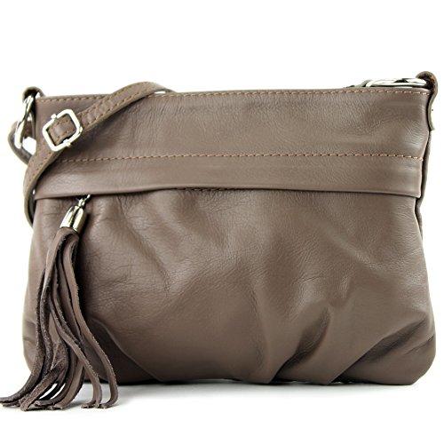 modamoda - ital. Ledertasche Umhängetasche Handtasche Klein Damentasche Nappaleder T32 Blassbraun