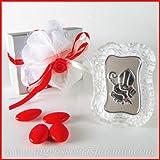 Bild mit Symbolen der Heiligen Firmung auf silberner Platte und Glasrahmen mit Eisoptik –Gastgeschenke für die Konfirmation von Jungen und Mädchen 12 pz