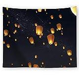 Schöne Wunsch Laternen Wandteppich Sternenhimmel Wandbehang Romantik unter dem Wunsch Laternen Himmel Wandkunst Tapisserie Chinesische Wanddecke Mandala Böhmisch Wandtuch Strandwurf 91 * 59in