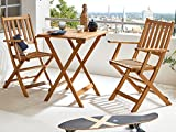 SAM® robust 3-piece acacia balcony set comprising 1 x balcony table + 2 x folding chairs, oiled, garden set, beautiful grain, solid wood, foldable, acacia seating group, balcony set