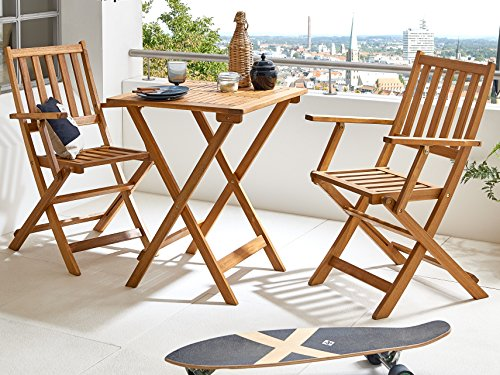 sam 3 teilige robuste garten gruppe balkon m bel aus akazien holz balkon gruppe bestehend aus. Black Bedroom Furniture Sets. Home Design Ideas