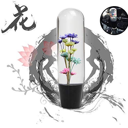 JINGLINGKJ Flower in Bubble Wasser Stick Schaltknauf MT AT Universal Bunt Transparent Acryl Mode Schaltknauf Kopf Autozubehör 3 Adapter
